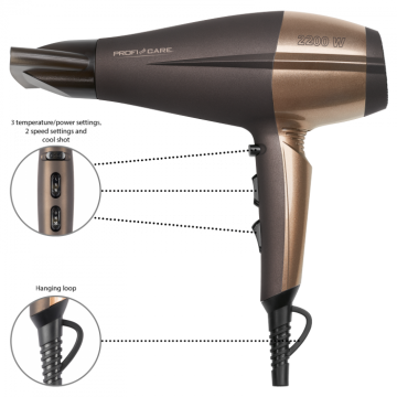 PROFICARE PC-HT 3010 Professional hair dryer brown-bronze