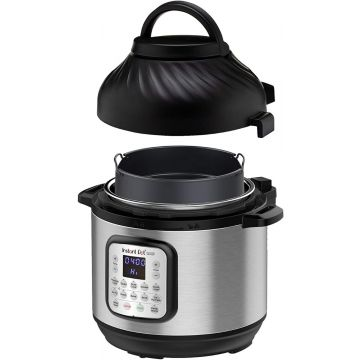 Instant Pot Duo Crisp + Air Fryer 8L Multicooker 11-in-1 Pressure Cooks, sautés, steams, Slow Cooks, Sousvides, Warms, air Fries, roasts, Bakes, Broil and dehydrates.