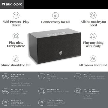 C10 MKII BLACK Wireless Multiroom Speaker - Portable Speaker - AirPlay 2 - Google Assistant and Cast - Spotify Connect - Bluetooth - Voice Control