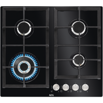 AEG HKB64440NB HOB, 4xGas on Glass, WOKBURNER, CAST-IRON GRID